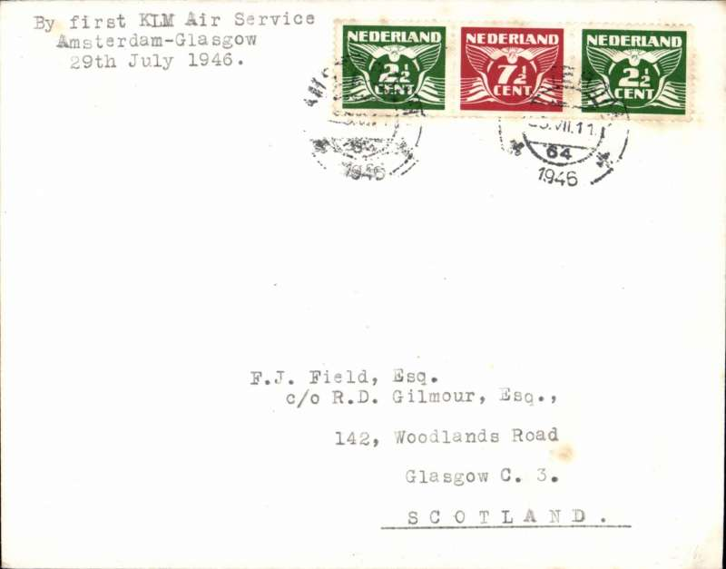 (Netherlands) KLM/Scottish Aviation, F/F Amsterdam-Glasgow, typed endorsement, no arrival ds, 'Amsterdam 25/7/46 postmark, addressed to FJ Field.