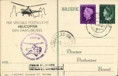 (Helicopter) Special flight Gravenhage to Brussels, arrival cds on front, violet flight cacher, souvenir card franked 20c.