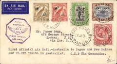 (Papua and New Guinea) First Official Mail, Papua to New Guinea, Port Moresby to Lae, 27/7, etiquette cover franked Papua 4 1/2d and New Guinea 1932 air 6d and 2d, violet Papua/Australia and New Guinea Australia cachets.