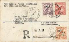 (Papua and New Guinea) First Official Mail, New Guinea-Papua-Australia, Wau to Lae 30/7 and on to Sydney 1/8, registered (hs) cover franked New Guinea 1932 air 9d and 1/2d and 2d ordinary, New Guinea -Australia cachet.