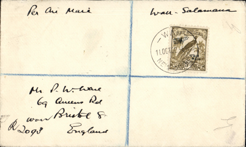 (Papua and New Guinea) Registered airmail cover, Wau to Salamaua, franked 1931 biplane and 'air mail' 5/-, cat SG £70 used.