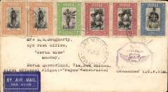 (Papua and New Guinea) F/F Papua-Australia, PORT MORESBY TO CAIRNS, bs 31/7, etiquette cover franked 8d, violet 'Papua-Australia' cachet.