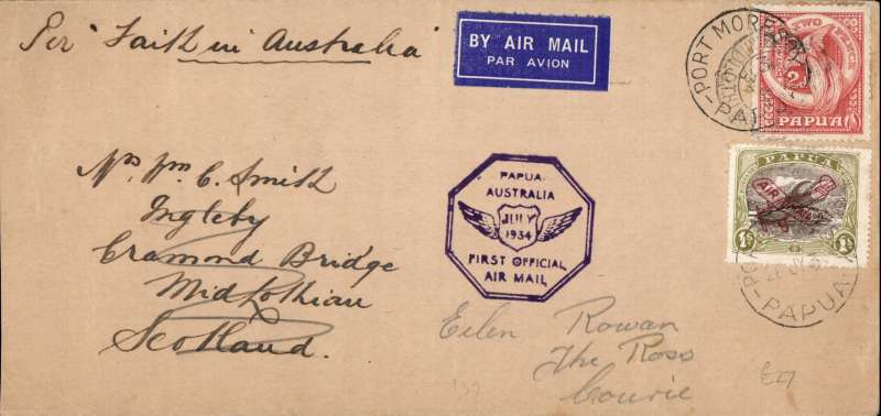 (Papua and New Guinea) Papua to Scotland, Midlothian arrival cds on front, carried on the first official airmail from Papua to Australia, bs Sydney 1/8, etiquette cover, 21x10cm, franked Papua 1/- (SG120) and 2d canc Port Moresby cds, violet 'Papua-Australia' cachet.