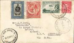 (Australia) WR Carpenter Airlnes, first official airmail service Australia to Papua bs 31/5 and return, plain cover franked Australia 5d canc Sydney 30/7 and Papua 5d canc Port Moresby 4/6, and verso Sydney return cds 5/6.
