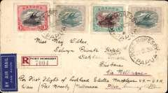 (Papua and New Guinea) Guinea Airways Lockheed Electra flight, Port Moresby to Melbourne bs 30/10, registered (label) cover franked 1916 1d, 2 1/2d x2 and 1930 3d air. Signed by the pilot Tommy O'Dea. Nice item.