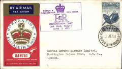 (Papua and New Guinea) Coronation Day Air Mail Flight, Papua to London, bs 6/6, souvenir cover franked 2/-, framed violet flight cachet.