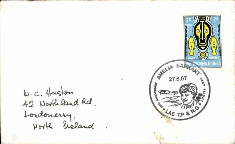 (Papua and New Guinea) Cover commemorating 30th anniversary of Amelia Earhart's last flight Lae T.P. & N.G., commem date stamp tying PNG 7c.