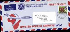 (Southern Rhodesia) F/F British United Airways VC10, Salisbury to London, attractive souvenir cover. Uncommon.