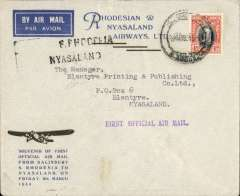 """(Southern Rhodesia) RANA F/F Salisbury to Blantyre, b/s, black two line  """"S Rhodesia Nyasaland"""" hs's, official souvenir  cover with trimotor silhouette franked 4d."""