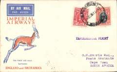 "(Southern Rhodesia) Imperial Airways F/F Salisbury to Cape Town, Springbok cover franked 5d, postmark date not legible, but strong Cape Town 21/12 bs and strong Johannesburg 21/12 transit cds, straight line ""Experimental Flight"" hs."