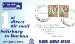 "(Southern Rhodesia) Central African Airways, first ""Coastal Viking"" direct Salisbury-Durban service, b/s, official souvenir cover. offering a fast, direct service to the South African coast. Attractive 'Zambezi' service vignette verso."