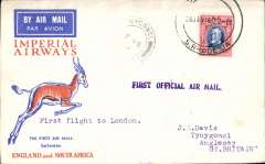 (Southern Rhodesia) Imperial Airways interrupted flight first flight Salisbury to London, 17/2 arrival ds on front, Springbok cover franked 10d, canc large '*****/28 Jan 1932/S.Rhodesia (Salisbury), violet st line F/F cachet. Carried on the first regular flight Cape Town-London. En route from Salisbury the City of Delhi had to make an emergency landing due to bad weather near Broken Hill. The mail was transferred to the City of Baghdad, and the mail arrived in Athens 9 days later than scheduled.