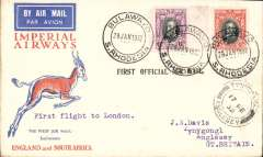 (Southern Rhodesia) Imperial Airways interrupted flight first flight Salisbury to London, 17/2 arrival ds on front, Springbok cover franked 10d, violet st line F/F cachet. Carried on the first regular flight Cape Town-London. En route from Salisbury the City of Delhi had to make an emergency landing due to bad weather near Broken Hill. The mail was transferred to the City of Baghdad, and the mail arrived in Athens 13 days later than scheduled.