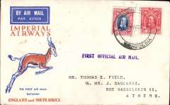 (Southern Rhodesia) Imperial Airways interrupted flight first flight Salisbury to Athens, 13/2 arrival ds verso, via Alexandria 12/2. Springbok cover franked 11d, violet 'First Official Air Mail' hs, carried on first regular flight Cape Town-London. En route from Salisbury the City of Delhi had to make an emergency landing due to bad weather near Broken Hill. The mail was transferred to the City of Baghdad, and the mail arrived in Athens 9 days later than scheduled. Sender's address has been excised neatly from flap, Francis Field authentication hs.