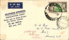 "(Southern Rhodesia) Inauguration of 1st stage of the Empire ir Mail Scheme, Bulawayo to Strand, Cape Province, bs 2/7 verso, cream/white souvenir cover printed ""Southern Rhodesia/Inauguration Flight/Postal Rate to Great Britain/and African Colonies/2d per half-oz/30th June 1937"",  Uncommon."