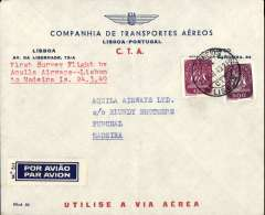 (Portugal) First survey flight by Aquila Airways, Lisbon to Madeira, bs Funchal 25/3, Companhia de Transportes Aereos company cover with logo, franked 24/3