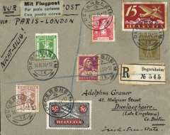 (Switzerland) Early airmail Switzerland to Ireland, via Basel, 14/4, Paris and London, registered (label) 2F grey/lemon PSC  franked with additional 103c stamps, canc Degersheim cds, pale green/black trilingual airmail etiquette, ms 'Via Paris-London', blue/green 'Give the children no alcohol' propaganda vignette verso.