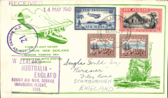 "(New Zealand) Auckland-London, carried on the inaugural flight flying boat ""Aotearoa"" from Auckland to Sydney, then Qantas/BOAC to London, two line 14 may 1940 reciever, large framed cachet, attractive gree/cream souvenir cover, sealed by B&W New Zealand censor tape.  Service suspended in June 1940 when Italy joined the war."