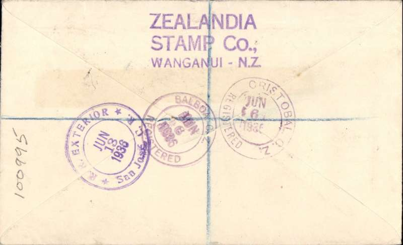 (Costa Rica) Inward to Costa Rica from New Zealand, Wanganui to San Jose, bs13/6, via Cristobal 6/6 and Balboa 6/6, registered (label) cover franked 5d air and 1/2d ordinary, ms 'Via Panama'. Scarce origin/destination combination. Nice item