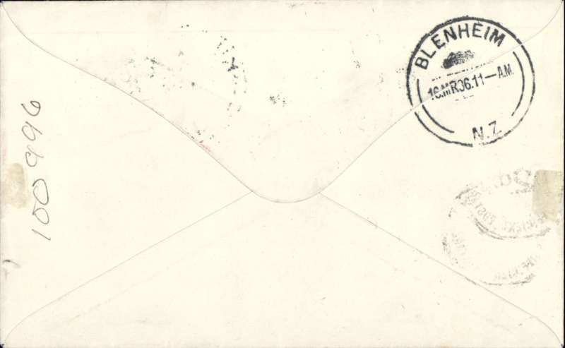 (New Zealand) Cook Strait Airways, F/F Wellington to Blenheim, bs 16/3, plain cover franked 2d, underpaid, postage due 2d tied by black PD handstamp.