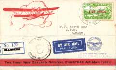 (New Zealand) Special Christmas Survey Flight, Blenheim to Oamaru, bs 24/12,attractive registered (label) red/white souvenir cover, franked 5d, underpaid, black 8d postage due hand stamp, violet framed flight cachet verso..