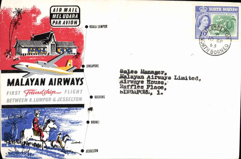 (Singapore) First Friendship Flight, North Borneo to Singapore, bs 10/9, flown Malayan Airways souvenir company cover franked North Borneo 20c.