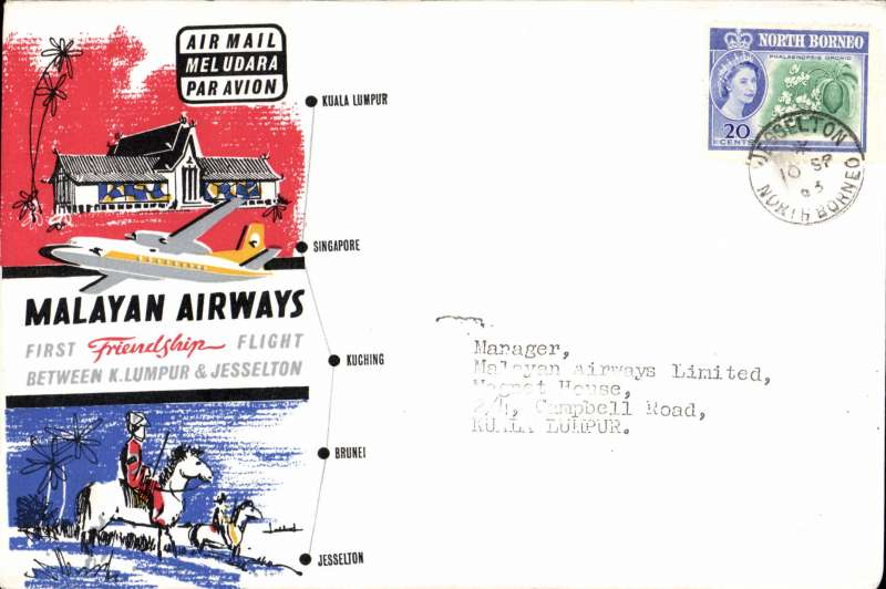 (Malaya) First Friendship Flight, North Borneo to Kuala Lumpur, bs 10/9, flown Malayan Airways souvenir company cover franked North Borneo 20c.