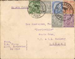 """(India) Karachi-Bombay Airmail, 3rd flight southwards  flown by RAF Squadron 97, cover franked 4 1/2 annas and 12p, canc 'Karachi/6 Feb 20/Air Post' cds, typed 'By Air Post', bs Santa Cruz 7/2/20 cds. There is some rear flap damage, but a residue of an embossed logo """"Conjunctis Viribus"""" remains. Lack of public support forced the govt to cancel this service after only seven flights."""