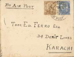 """(India) Bombay-Karachi, 7th flight northwards flown by RAF Squadron 97, cover franked  8 annas and 6p, canc """"Bombay/11 Mar 20/Air Post'' cds, typed 'By Air Post', bs Karachi 12 Mar 20. Lack of public support forced the govt to cancel this service after only seven flights."""