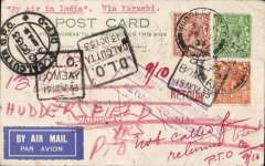 (GB External) Imperial Airways connects with ITCA, London to Calcutta, bs 9/7, 'not called for' so returned to sender with with several Bombay and Calcutta 'DLO' hand stamps. PC franked 4d, canc Huddersfield cds, black framed 'First Flight/Karachi-Calcutta' cachet verso, airmail etiquette.