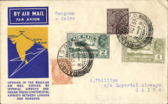 """(Burma) Imperial Airways/ITCA, Rangoon to Cairo, carried on first return of extension of India service to Rangoon, bs 61/0 and on to Heliopolis 7/10, violet """"dumbbell"""" flight cachet verso, yellow/blue official cover, Imperial Airways."""