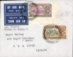 """(India) Tempoary route change of the Karachi-Madras service due to flooding of the Juhu aerodrome at Bombay, Poona to Karachi, bs 31/5, cover with blue cown over ?dragon and """"Virtus Non Satis"""" embossed on flap, franked 3 1/4 anna, tete a beche airmail itiqutte tied by Poona postmark. No special postmarks or cachets wer used."""
