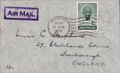 (India) 1948 Gandhi 12 annas stamp on airmail cover, Madras to England, framed violet 'Air Mail' hs.