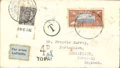 (Iceland) Underpaid early airmail, Reykjavik to England, canc Mevagissey 11/8 cds verso tying block of four 1d GB postage dues, franked 1930 Parliamentary 15au air, and 6au ordinary, canc Reykjavik 6 Jul 1930 cds's on front, black 'T' in circle and '4d/To Pay' underpaid hand stamps, pale blue/black airmail etiquette.