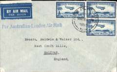 "(New Zealand) Airmail cover New Zealand to England, New Plymouth to Halifax, bs, plain etquette cover franked 1/6c. fine strike uncommon ""Per Australian-London Air Mail"" hand stamp."