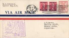 (Canal Zone) F/F FAM 9, Cristobal to Buenos Aires, franked 52c, violet rectangular flight cachet, bs 14/10, Pan American-Grace Airways. Carried by Sikorsky S-38A amphibian to Guayaquil, then Ford trimotor landplanes across the Andes to BA.