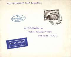 (Airship) First Trans-Atlantic crossing to Lakehurst, bs New York 16/10, oval blue flight cachet, plain cover franked 4Rm Zeppelin stamp tied Friedrichshafen/Luftpost cds.
