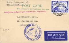 (Airship) Graf Zeppelin interrupted America flight, landing in Cuers, PC franked 2m canc Friedrichshafen/Luftpost cds, arrived in New York August 5th, circular blue flight confirmation cachet, red straight  line interruption confirmation cachet.
