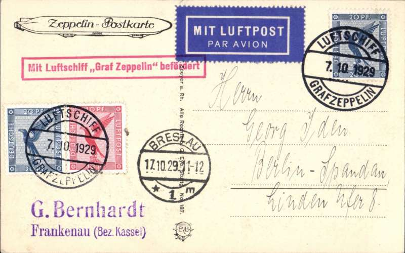 (Airship) 1929 Balkans and Silesia flight, dropped at Breslau, 'Zeppelin-Postkarte' PPC franked 50pf, on board cancel 7/10, red framed 'Mit Luftschiff Graf Zeppelin Befordert' confirmation cachet.
