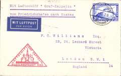 (Airship) 1930 Russia flight, Friedrichshafen to Moscow, bs 11/9, franked Zeppelin 2RM, red triangular flight cachet.