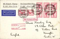 (Ship to Shore) Bremen-New York, and on to London, bs 12/6 by sea, printed souvenir 'D1717-New York' corner cover with blue 'flag' logo on flap, franked 80pf, seapost cancel, red flight cachet, red framed 'Mit Katapultflug' hs.