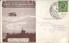 (GB Internal) Coronation Aerial Post, public mail, dark brown Remington Typewriter Company trade advertisement London to Windsor card, addressed to Newton Abbot, correctly rated 1/2d, posted from London, cancelled die number 1. Very fine.