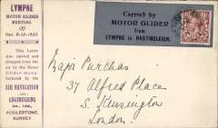 """(GB Internal) Lympne Motor Glider Meeting, printed souvenir envelope flown Lympne to Hastingleigh, grey vignette """"Carried by Motor Glider from Lympne to Hastingleigh"""", franked 1 1/2d canc Hastingleigh cds. As ilustrated in Short, p 107."""