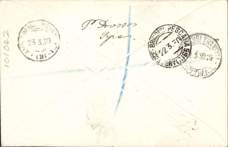 (Greece) F/F Syros to Brindisi, bs 22/3, Drossos registered (label) cover franked 1926 10D air and 5D ordinary, red framed Athens departure hs, Aero Espresso Italiana S.A.