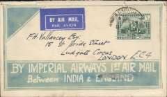 (Iraq) F/F Baghdad to England, no arrival ds, rare green/cream cover 'By Imperial Airways 1st Air Mail/between India & England' and 'Keep This Envelope' verso, franked 6annas, airmail etiquette.