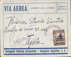 "(Paraguay) Asuncion to Egypt, bs Alexandria, carried on the inaugural Compagnie Aeroposta  Argentina Asuncion-Toulouse service, ""Lineas Internas y Linea Asuncion-Bs Aires Aeroposta  Argentina"" airmail cover franked $17P/5P, verso good strike violet boxed ""Correo Aereo/ Rep del Paraguay"" cachet used before airmail envelopes were introduced. Flown on the new CGA overseas service from Paraguay to Argentina then ""accelerated"" by the ""plane-ship-plane route via the South Atlantic to Toulouse, then OAT to destination. Early airmail cover to uncommon destination"