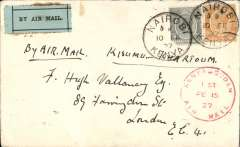 "(Kenya) Nairobi to Cairo, bs 20 Feb, carried by Capt. TA Gladstone on the East African Experimental Air Mail Service, first internal feeder mail from Nairobi, then carried on the return experimental flight from Kisumu to Khartoum, then by RAF from Khartoum to Cairo, correctly rated Kenya and Uganda 50c (corner fault) and 20c, red circular ""Kenya-Sudan/ 1st/Air Mail/Fe 15/27"" cachet (see illustration p86 Newall), ms ""Air Mail"", plain cover with black/pale green etiquette rated 'a great rarity' by Mair."