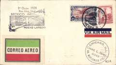 (Mexico) F/F Mexico City to Nuevo Laredo, cachet, b/s, black/green/carmine/white etiquette rated very scarce by Mair.