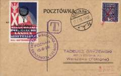 (Poland) Poznan to Berlin balloon flight, 17.8.29 arrival ds on front, card franked 5gr, red/white/blue vignette tied by fine strike violet circular Poznan Ballon Meet/15.-8-29 special cancelation