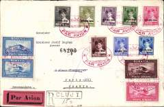 (Romania) Early airmail, Romania to France, Cluji to Paris, bs 13/8, registered (label) cover franked 1928 King Michael set of 8, and 1928 air set of 3, canc nice srikes of red oval ClujiPar Avion postmark, black/salmon four line airmail etiquette rated rare by Mair.